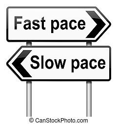 Pace of life. - Illustration depicting a roadsign with a...