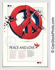 pace, pezzi, protesta, conflicts., dimostrazione, pace, 60s,...