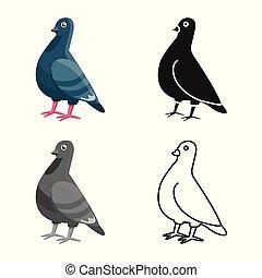pace, simbolo., uccello, set, colomba, disegno, stock., vettore, icona