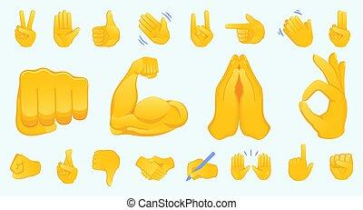 pace, su, roccia, emoticon, illustration., icone, differente, mani, gesto mano, isolato, ok, emojis, pollice, set, collection., cartella, gesturing., vettore, applauso, bicipite, stretta di mano