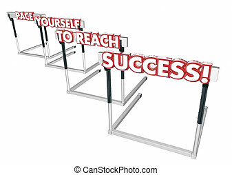 Pace Yourself to Succeed Hurdles Success Win 3d Illustration