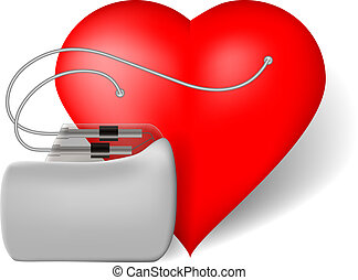 Pacemaker and red heart, vector illustration on white...
