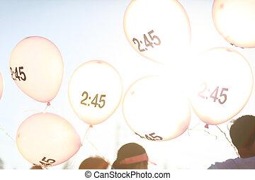 pacer, balloon, symbole, courant, marathon