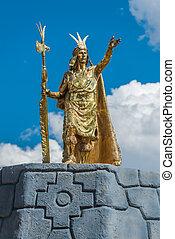 Pachacutec Inca stue in Plaza de Armas of Cuzco Peru -...