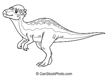 Pachycephalosaurus Cartoon BW