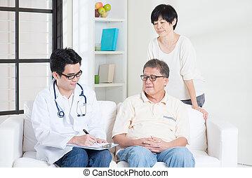 paciente, antigas, doutor