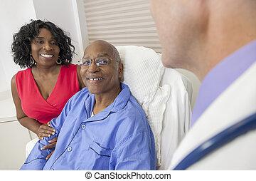 paciente, cama hospital, americano, africano, homem sênior