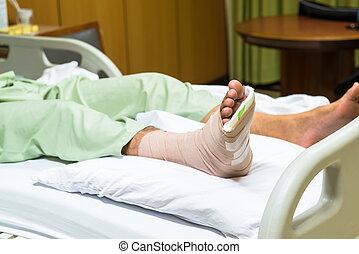 paciente, con, pierna rota