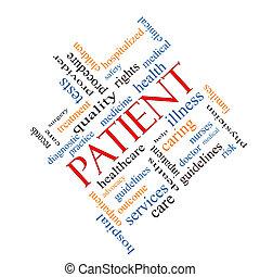 paciente, concepto, palabra, nube, angular