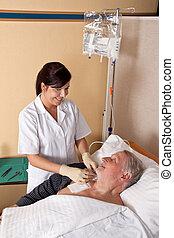 paciente de enfermera, infusión, da
