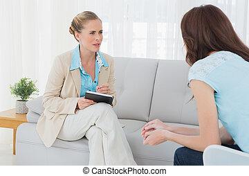 paciente, dela, psicólogo, sessão, atento, tendo