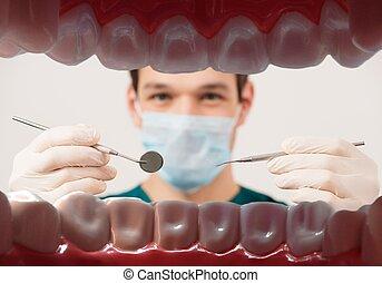 paciente, dental, jovem, odontólogo, boca, segurando, macho,...
