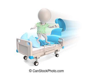 paciente, dirigindo, ligado, madical, cama