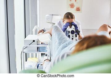 paciente, doctor, joven, examen, hembra, ginecológico