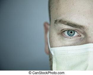 paciente, doctor, mirar, ojo, usted, o