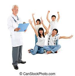 paciente, doutor familiar, médico, asiático, sênior