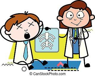 paciente, doutor, ilustração, vetorial, relatório, senhora, caricatura, raio x