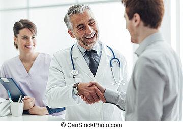 paciente, e, equipe funcionários médica