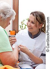 paciente enfermeira, entregue, letra