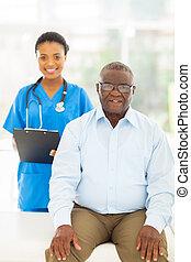 paciente, escritório, americano, doutores, sênior, afro