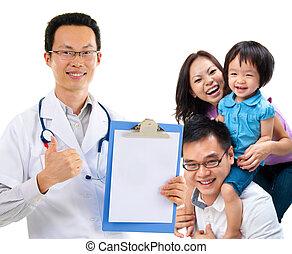 paciente, família, chinês, doutor, médico, jovem, macho