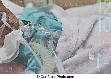 paciente, haga, tracheostomy, y, ventilador, en, hospital
