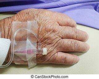 paciente, hospitalar, salino, intravenous