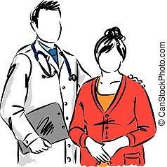 paciente, ilustração, doutor