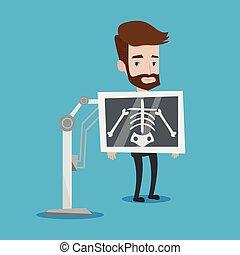 paciente, ilustración, vector, durante, x, procedimiento, ...