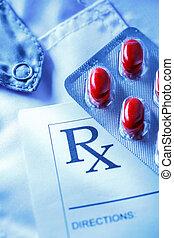 paciente, lista, píldoras, rojo