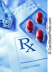 paciente, lista, pílulas, vermelho