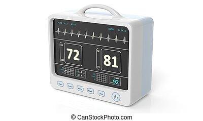 paciente, monitor, dispositivo, primer plano, aislado, blanco, plano de fondo