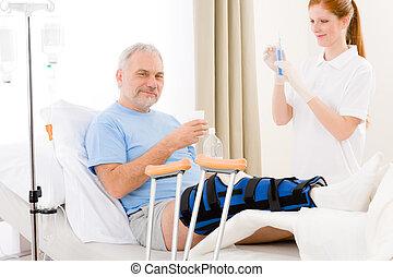 paciente, perna, hospitalar, -, quebrada, femininas, siringa, enfermeira