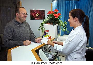 paciente, recibe, un, prescripción