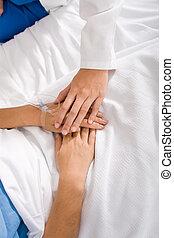 paciente, reconfortante, doctor