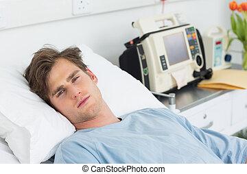 paciente, relaxante, cama, hospitalar