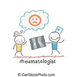 paciente, rheumatologist, pernas, raio x, mostra