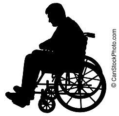paciente, sílla de ruedas, silueta