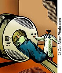 paciente, scanner, doutor, pôr, através, ct