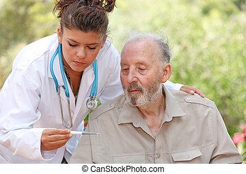 paciente, temperatura, doctor, toma, o, enfermera, 3º edad