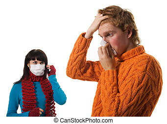 pacientes, atrás, estantes, influenza, mujer hombre, máscara
