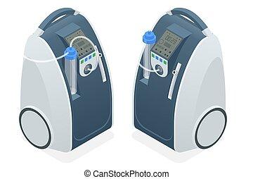 pacientes, concentrators, isométrico, concentrator., médico, hogar, covid-19., oxígeno