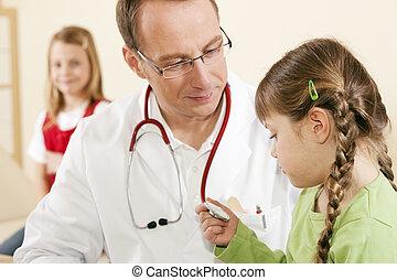 pacientes, doutor, pediatra, criança