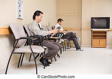 pacientes, esperando, em, hospitalar, lobby