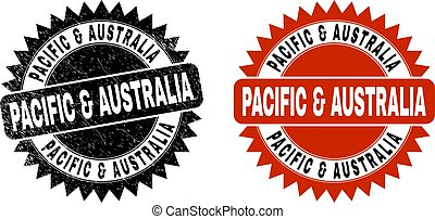 PACIFIC & AUSTRALIA Black Rosette Stamp Seal with Rubber Texture