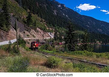 pacific, canadees, hoogland, perceel, spoorweg