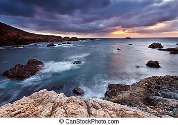 Pacific coast at sunset, California, US