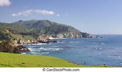 Pacific Coast Highway, #1 - Panoramic time-lapse with bridge...