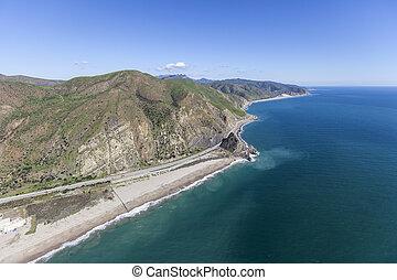 Pacific Coast Highway and Mugu Rock California Aerial