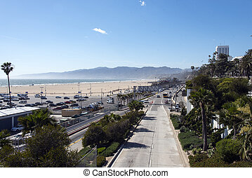 Junction of the Pacific Coast Highway and 10 Freeway in Santa Monica California